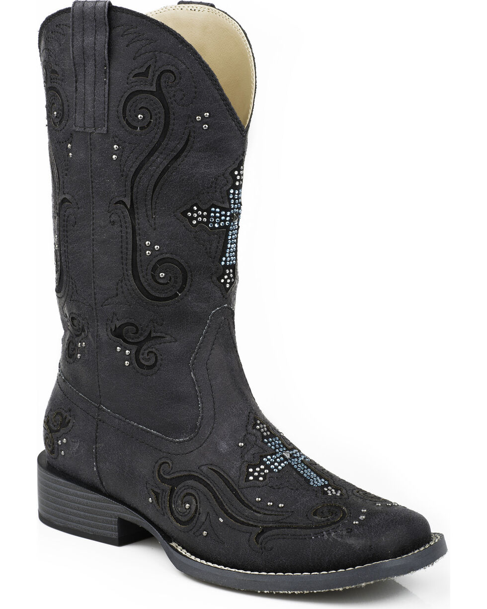 Roper Bling Crystal Cross Faux Leather Cowgirl Boots - Square Toe, Black, hi-res