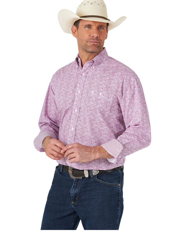 George Strait By Wrangler Men's Pink Abstract Geo Print Long Sleeve Button-Down Western Shirt - Tall , Pink, hi-res