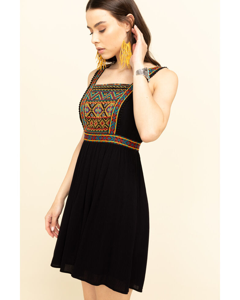 Shyanne Women's Black Embroidered Dress, Black, hi-res