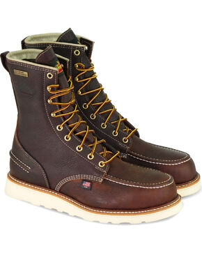 "Thorogood Men's Brown American Heritage 8"" Waterproof Work Boots - Steel Toe , Brown, hi-res"