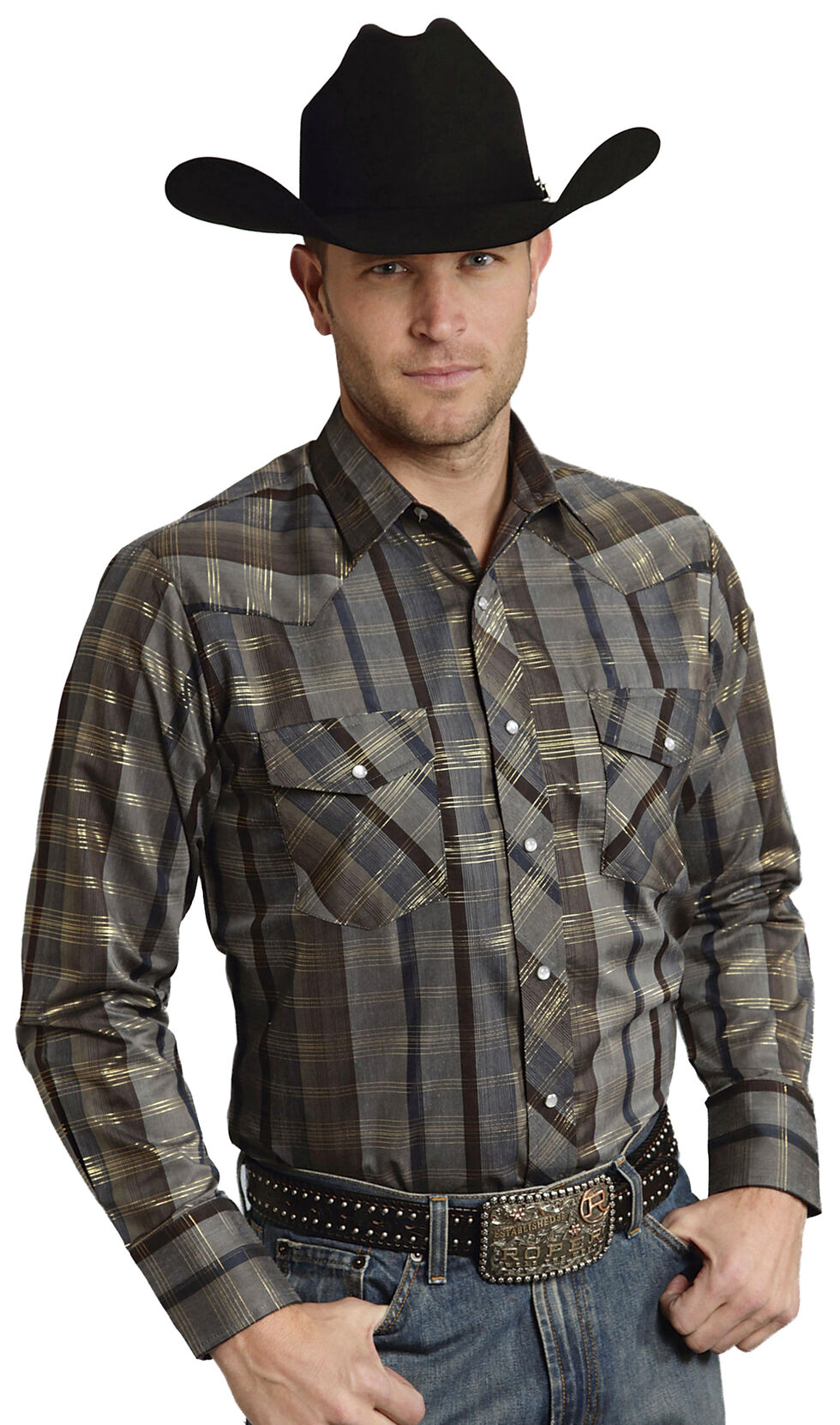Roper Men's Brown Snap Gold Stripe Lurex Western Shirt, , hi-res