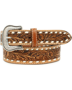 Nocona Men's Cheyenne Floral Embossed Buck Stitch Leather Belt, Natural, hi-res