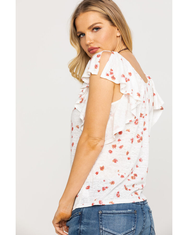 Miss Me Women's Floral Ruffle Top, White, hi-res