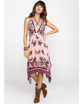 Angie Women's Blush Floral Hanky Hem Dress, , hi-res