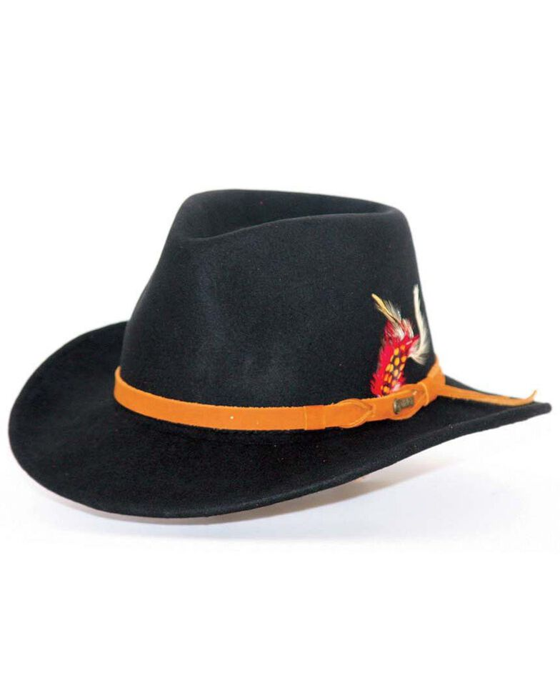 Outback Trading Co. Randwick UPF50 Sun Protection Crushable Wool Hat, Black, hi-res
