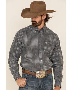 Ariat Men's Russ Medallion Geo Print Long Sleeve Button-Down Western Shirt - Tall , Grey, hi-res