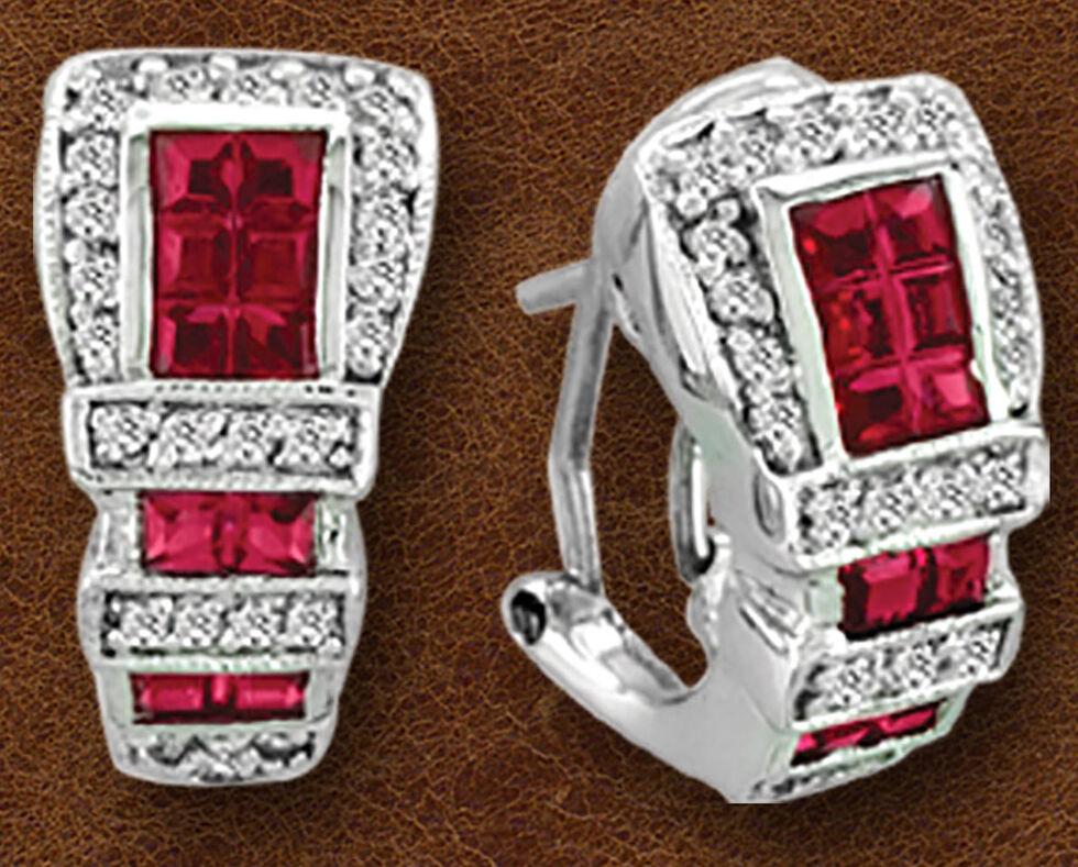 Kelly Herd Sterling Silver Ranger Style Buckle Earrings , Silver, hi-res