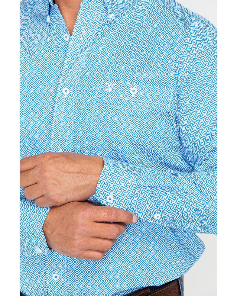 Wrangler 20X Men's Chevron Diamond Print Competition Advanced Comfort Western Shirt, Black/blue, hi-res