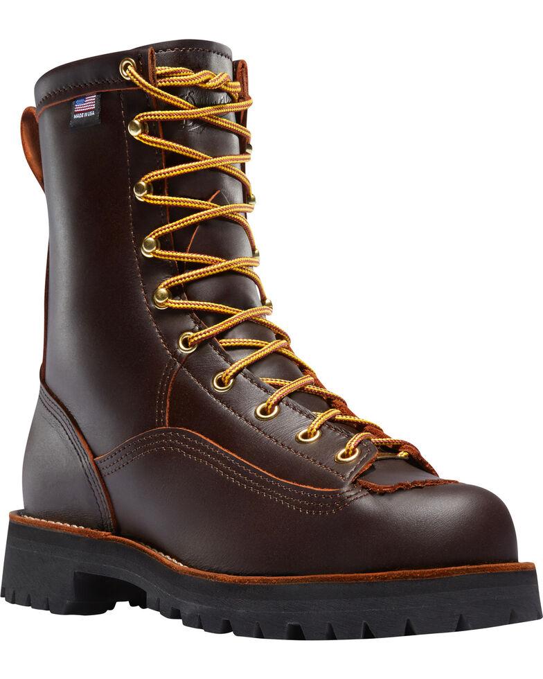"Danner Men's Brown Rain Forest 8"" Work Boots - Round Toe , Brown, hi-res"