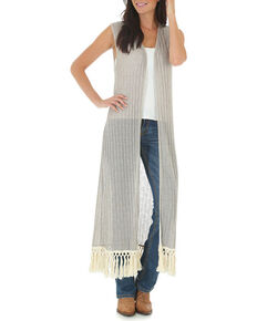 Wrangler Women's Tan Sleeveless Crocheted Trim Duster , Tan, hi-res