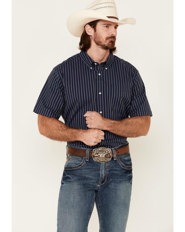 Cody James Core Men's Lucky Lane Stripe Short Sleeve Button-Down Western Shirt , Navy, hi-res