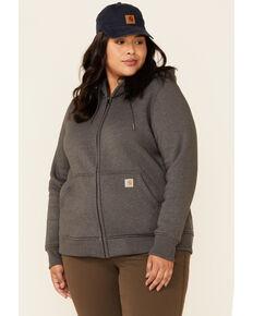 Carhartt Women's Medium Charcoal Clarksburg Zip-Front Hooded Work Sweatshirt - Plus, Medium Grey, hi-res