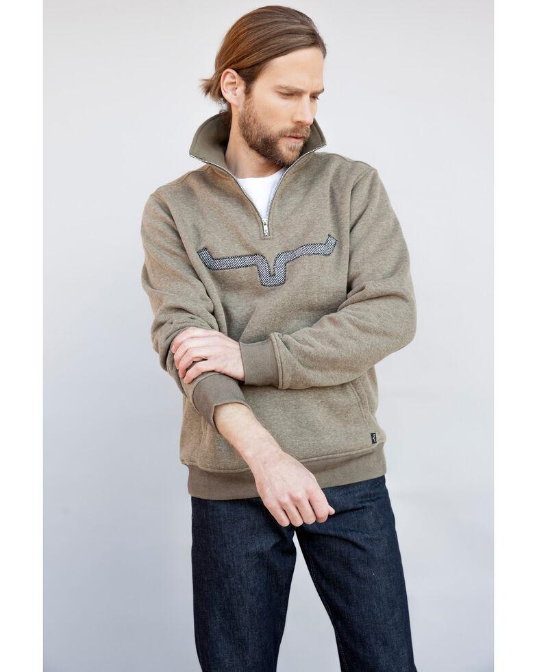 Kimes Ranch Men's Olive GT Quarter Zip Front Pullover Sweatshirt , Green, hi-res