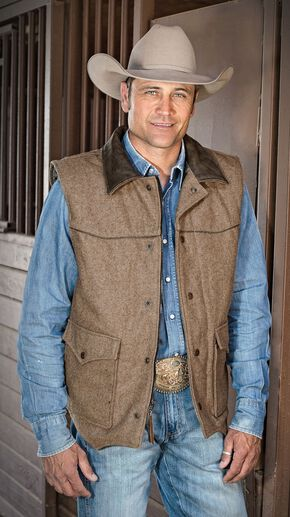 STS Ranchwear Men's Lariat Brown Vest - Big & Tall - 4XL, Brown, hi-res