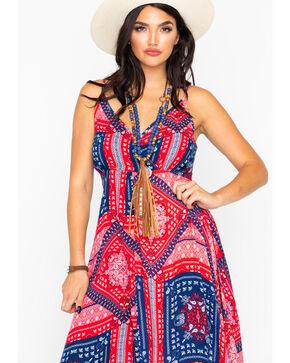 Wrangler Women's Print Spaghetti Strap Handkerchief Dress  , Red, hi-res