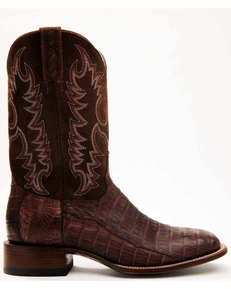 Cody James Men's Grasso Exotic Caiman Skin Western Boots - Wide Square Toe, Chocolate, hi-res