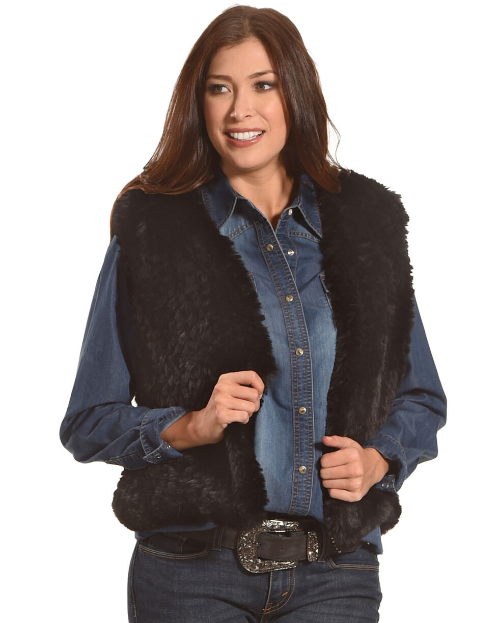 Tractr Women's Faux Fur Vest , Black, hi-res
