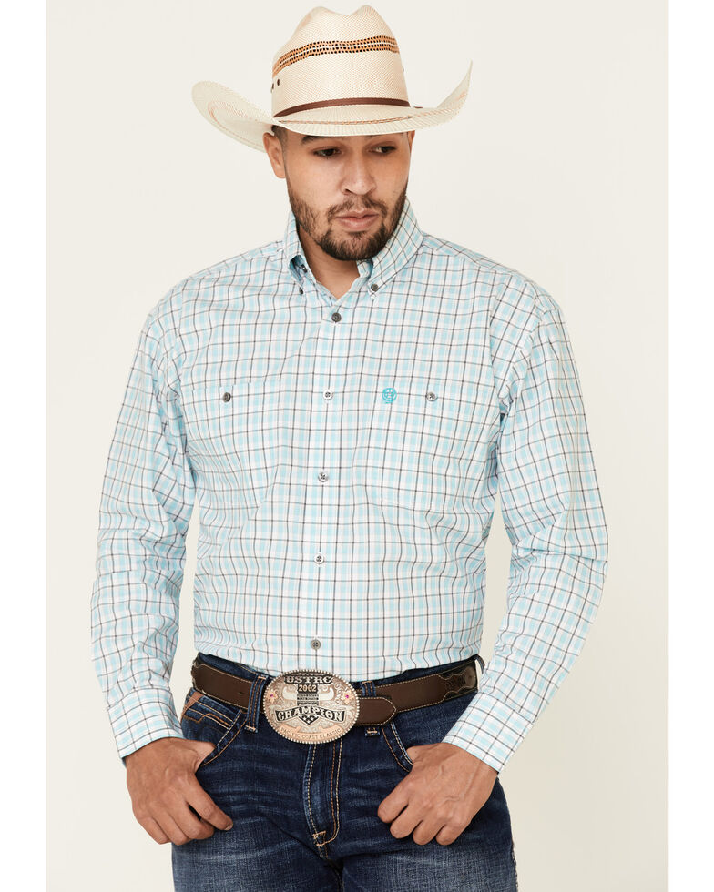 George Strait By Wrangler Men's Turquoise Small Plaid Long Sleeve Button-Down Western Shirt - Tall, Turquoise, hi-res