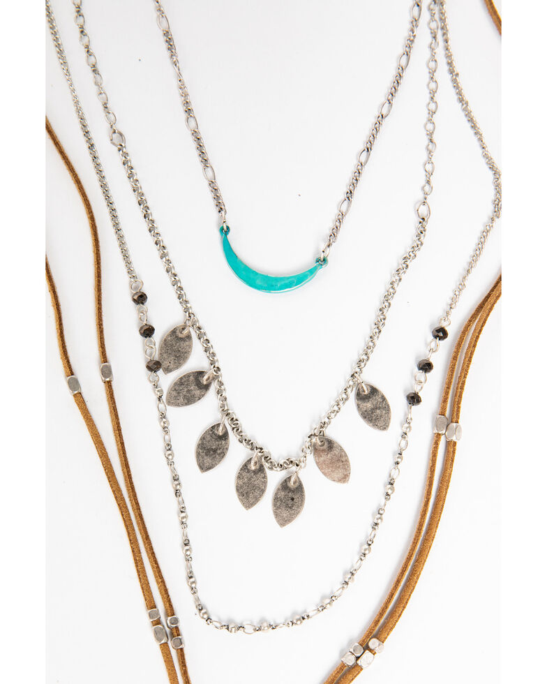 Shyanne Women's Moonlit Layered Leather Crescent Necklace, Silver, hi-res