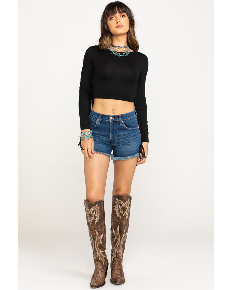 Wrangler Modern Women's Cutoff Frayed Shorts, Indigo, hi-res