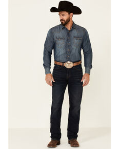 Rock & Roll Denim Men's Hooey Double Barrel Dark Vintage Stretch Relaxed Stackable Bootcut Jeans , Blue, hi-res