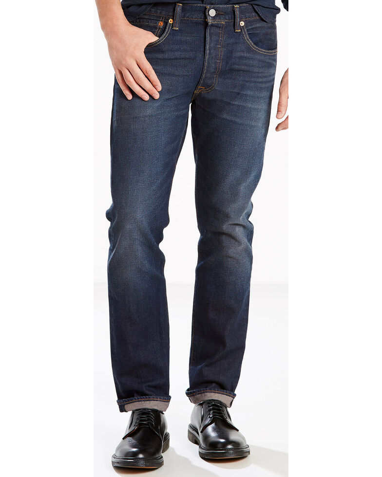 5c9c2558 Zoomed Image Levi's Men's Blue 501 Original Fit Anchor Stretch Jeans - Straight  Leg, Blue, hi
