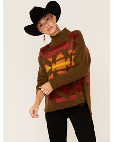 Pendleton Aztec Pattern Turtleneck Sweater, Bronze, hi-res