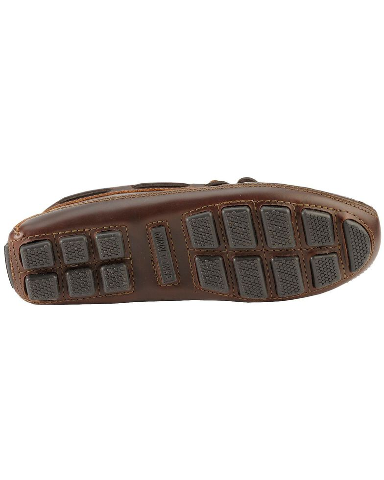 Men's Minnetonka Double Bottom Cowhide Driving Moccasins, Dark Brown, hi-res