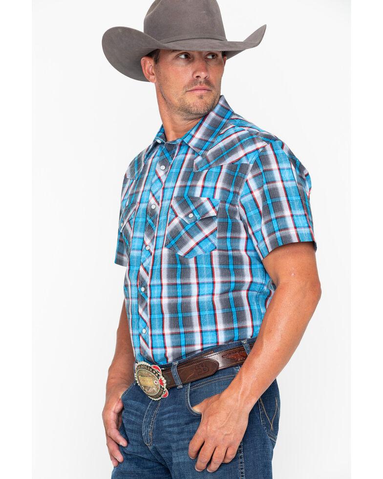 Rock & Roll Denim Men's Crinkle Plaid Snap Short Sleeve Western Shirt , Blue, hi-res
