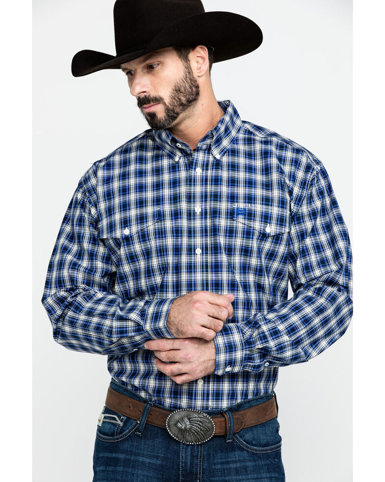 Cinch Men's Multi Plaid Button Long Sleeve Western Shirt , Purple, hi-res