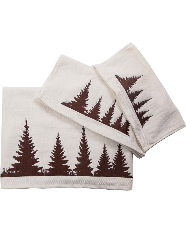 HiEnd Accents 3-Piece Cream Towel Set With Embroidered Clearwater Pines , Cream, hi-res