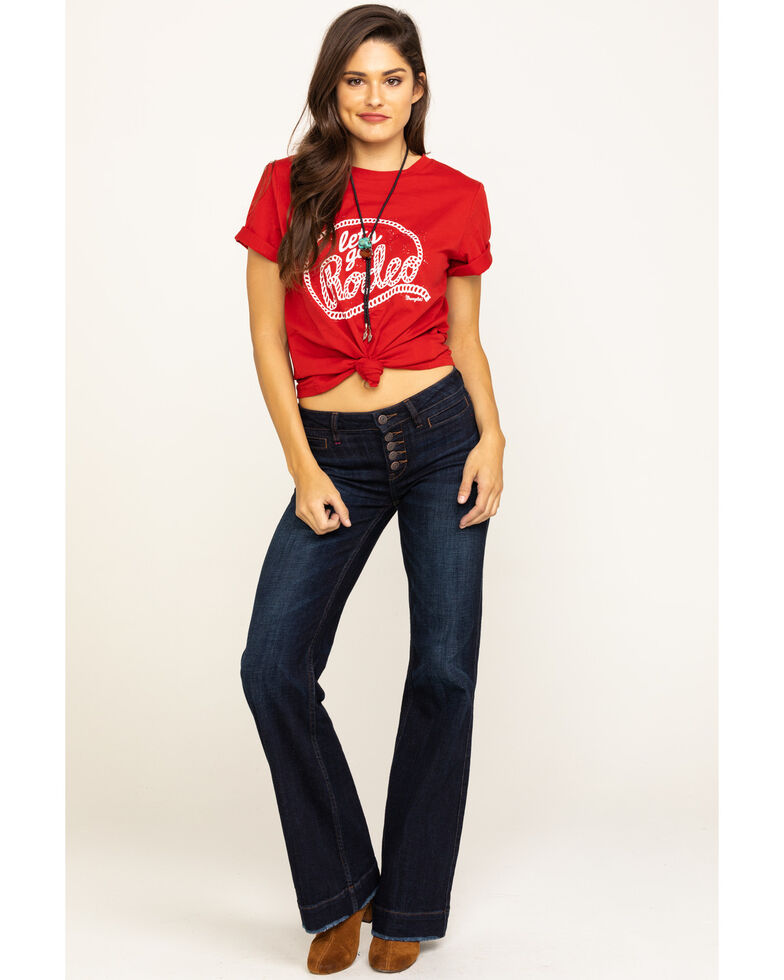 Wrangler Women's Red Let's Go Rodeo Graphic Tee , Red, hi-res