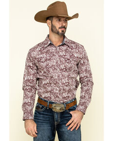 Cody James Men's Amarillo Large Floral Print Long Sleeve Western Shirt - Tall , Maroon, hi-res