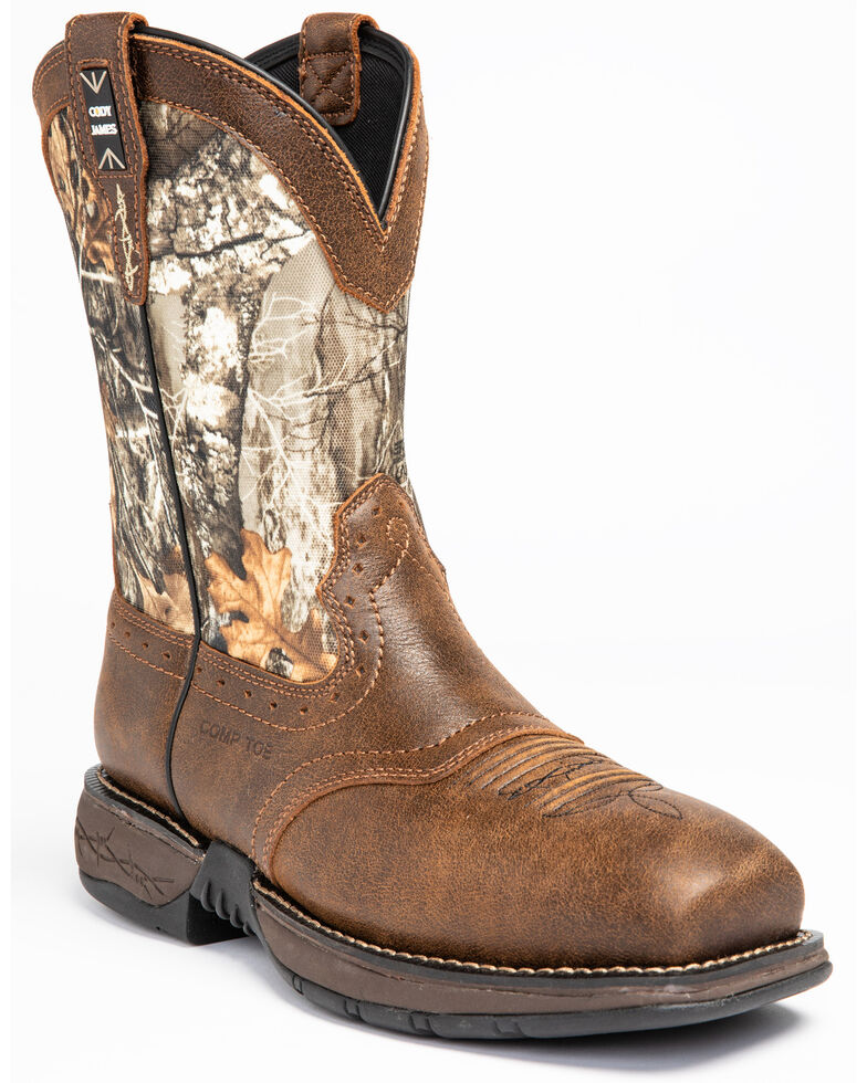 Cody James Men's Xero Gravity Lite Camo Western Work Boots - Composite Toe, Brown, hi-res