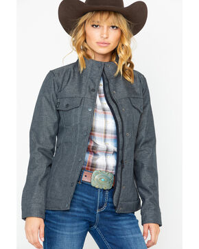 Cinch Women's Grey Solid Textured Softshell Trucker Jacket , Grey, hi-res