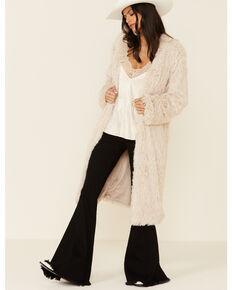 Angie Women's Ivory Long Faux Fur Open Front Coat, Ivory, hi-res