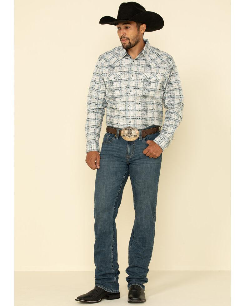 Moonshine Spirit Men's Wash Out Plaid Long Sleeve Western Shirt , Blue, hi-res