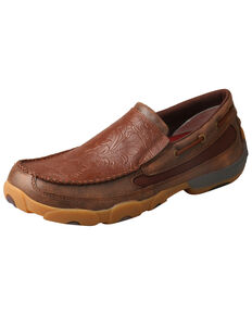 Twisted X Men's Slip-On Driving Moccasins - Moc Toe, Brown, hi-res