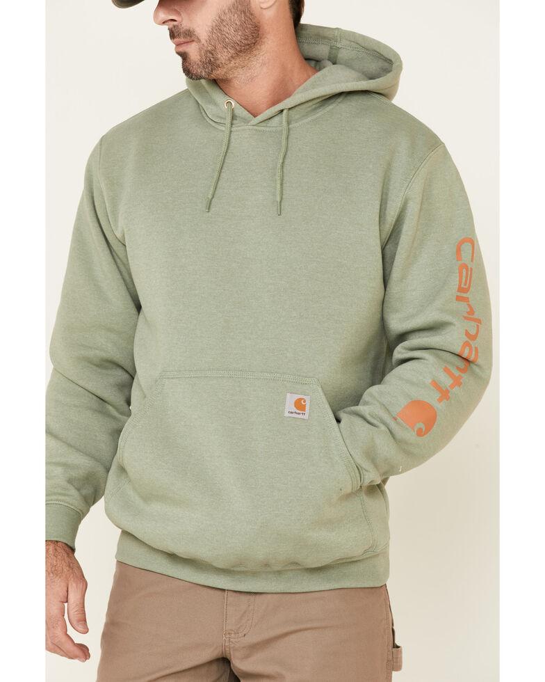 Carhartt Men's Green Midnight Signature Sleeve Logo Hooded Work Sweatshirt , Green, hi-res