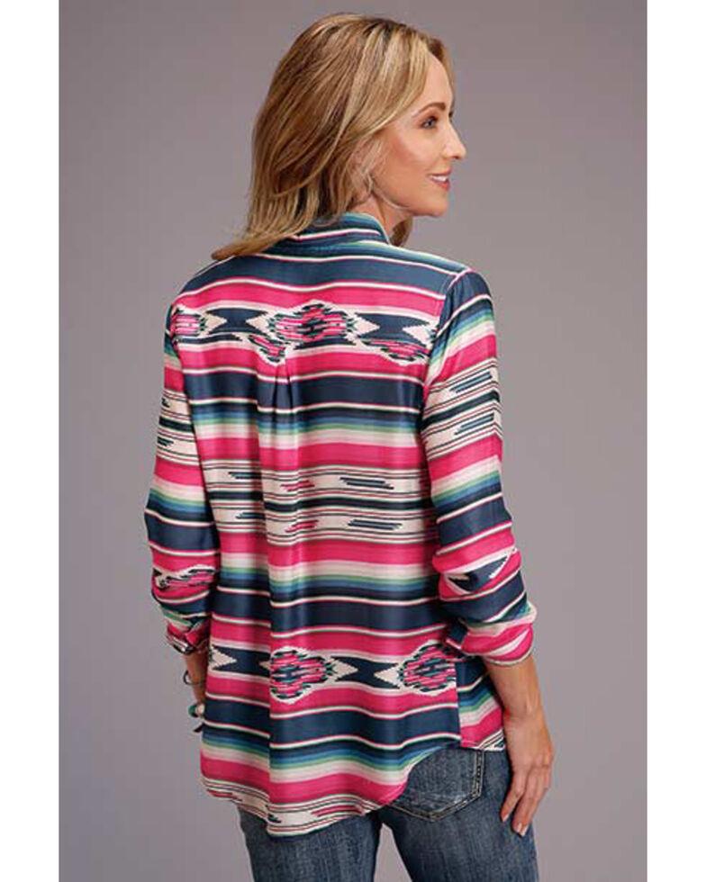 Stetson Women's Indigo Aztec Stripe Herringbone Long Sleeve Button-Down Western Shirt , Blue, hi-res