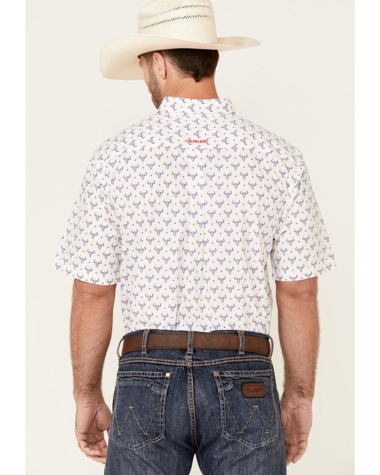 Ariat Men's Brewer Bull Geo Print Short Sleeve Button-Front Western Shirt - Tall , White, hi-res