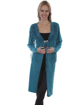 Honey Creek By Scully Women's Fringe Concho Duster , Turquoise, hi-res