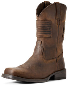 Ariat Men's Rambler Patriot Distressed Western Boots – Square Toe , Distressed Brown, hi-res