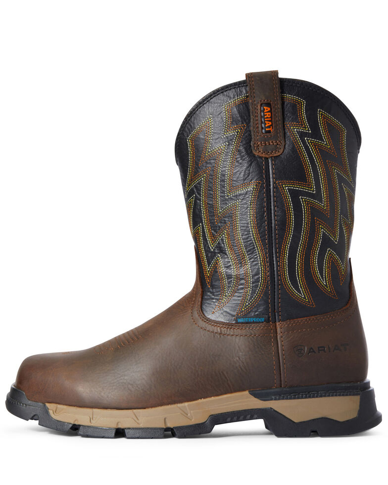 Ariat Men's Rebar Flex Waterproof Western Work Boots - Soft Toe, Brown, hi-res
