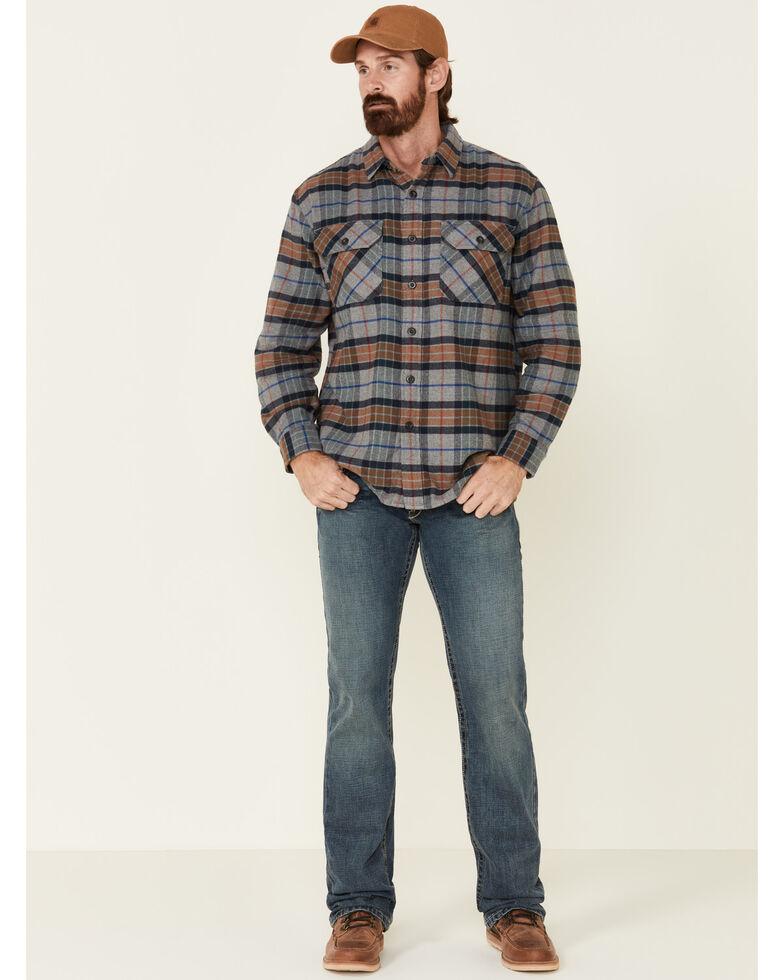 Pendleton Men's Grey Burnside Plaid Long Sleeve Western Flannel Shirt , Grey, hi-res