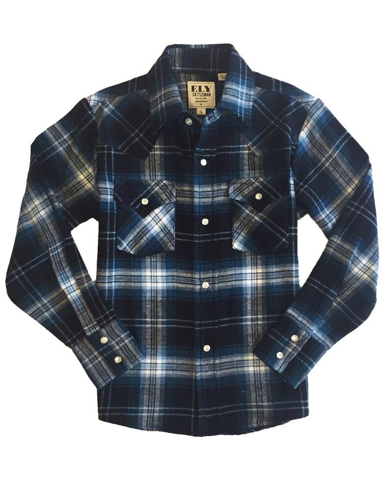 Ely Walker Boys' Blue Plaid Long Sleeve Western Flannel Shirt , , hi-res
