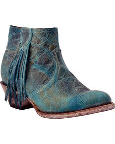 Ferrini Women's Turquoise Fringe Western Booties - Round Toe, Turquoise, hi-res