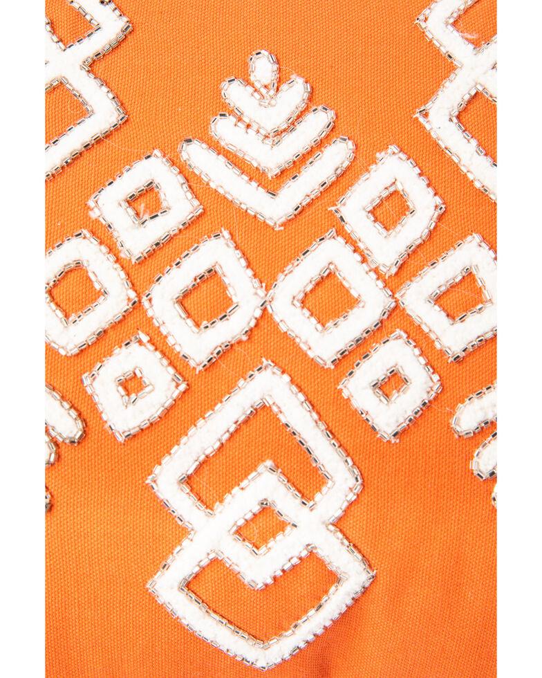BB Ranch Sunset Orange Beaded Aztec Pillow, Orange, hi-res
