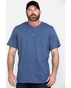 Hawx Men's Pocket Henley Short Sleeve Work T-Shirt - Tall , Heather Blue, hi-res