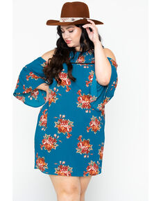 9ee3160f7a2f Flying Tomato Women s Floral Cold Shoulder Dress- Plus Size